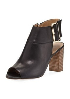 Neiman Marcus Berg Leather Zip-Up Bootie