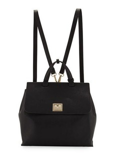 Neiman Marcus Bess Flip-Lock Faux-Leather Backpack