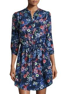 Neiman Marcus Bird-Print Georgette Mini Dress