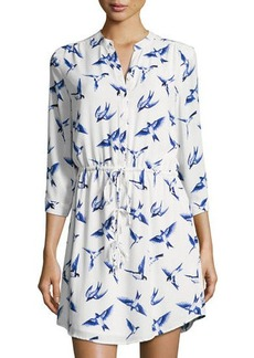 Neiman Marcus Bird-Print Georgette Mini Dress