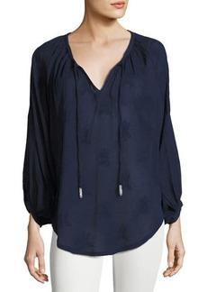Neiman Marcus Blouson-Sleeve Tie-Neck Blouse