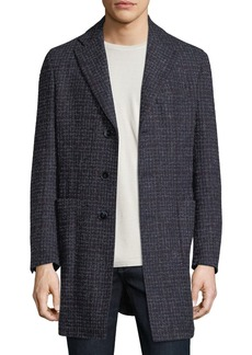 Neiman Marcus Boucle Plaid Single-Breasted Coat