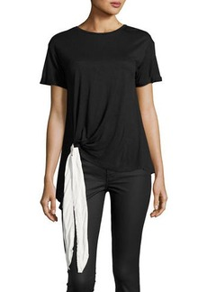 Neiman Marcus Bow-Detail Short-Sleeve Jersey Tee