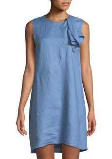 Neiman Marcus Bow-Neck Linen Shift Dress