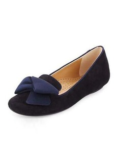 Neiman Marcus Bow Smoking Suede Loafer