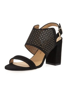 Neiman Marcus Brae Perforated Suede Sandal