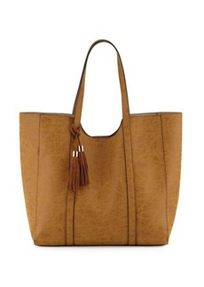 Neiman Marcus Braided Tassel Faux-Leather Tote Bag
