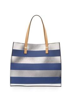Neiman Marcus Brigitte Metallic Striped Tote Bag
