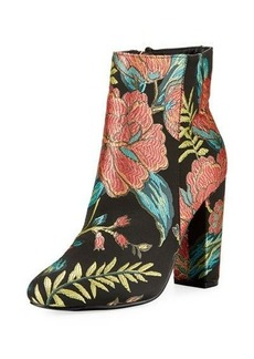 Neiman Marcus Bucasia Floral Brocade Bootie