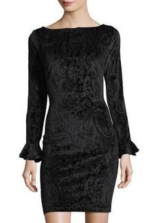 Neiman Marcus Burnout Velvet Paisley Bodycon Dress