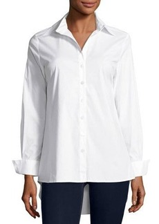 Neiman Marcus Button-Down Blouse with Pleated Back