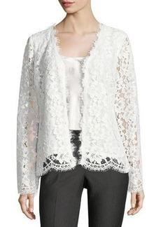 Neiman Marcus Button-Front Lace Jacket