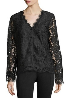 Neiman Marcus Button-Front Lace Jacket