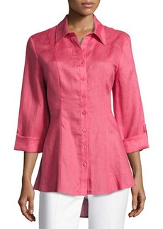 Neiman Marcus Button-Front Linen Swing Blouse
