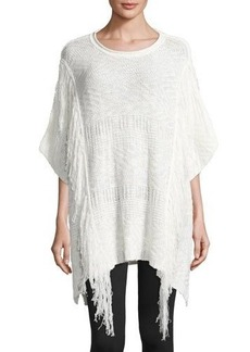 Neiman Marcus Cable-Knit Fringed Poncho