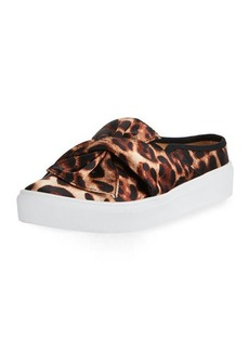 Neiman Marcus Camran Knotted Cheetah-Print Slide