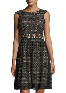 Neiman Marcus Cap-Sleeve Fit & Flare Lace Dress