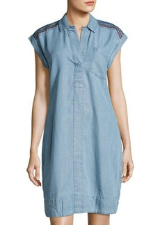 Neiman Marcus Cap-Sleeve Topstitch Denim Dress