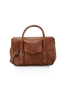 Neiman Marcus Cargo Pebbled Faux-Leather Satchel Bag