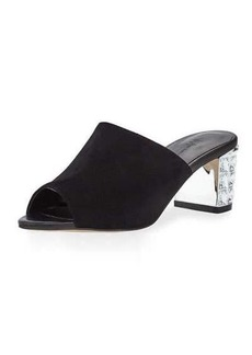 Neiman Marcus Carly Embellished-Heel Suede Mule
