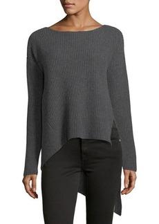 Neiman Marcus Cashmere Asymmetric-Hem Sweater