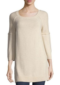 Neiman Marcus Cashmere Boat-Neck Knit Tunic Sweater
