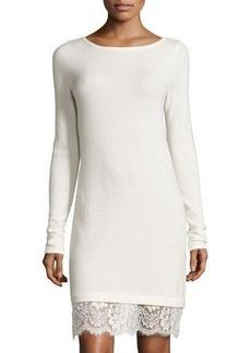 Neiman Marcus Cashmere Boat-Neck Lace-Hem Sweater Dress