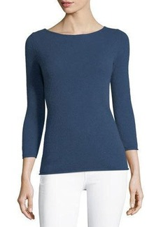 Neiman Marcus Cashmere Boat-Neck Long-Sleeve Pullover Sweater