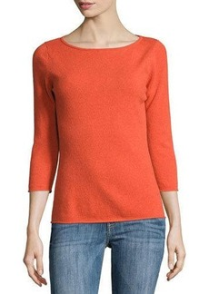 Neiman Marcus Cashmere Boat-Neck Pullover Sweater