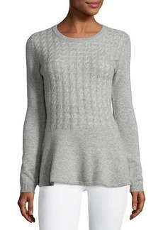Neiman Marcus Cashmere Cabled Peplum Pullover Sweater