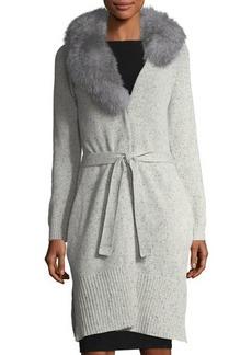 Neiman Marcus Cashmere Cardigan w/ Fur Collar