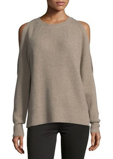 Neiman Marcus Cashmere Cold-Shoulder Sweater