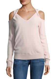 Neiman Marcus Cashmere Cold-Shoulder Twist Sweater