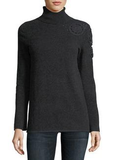Neiman Marcus Cashmere Collection Asymmetric Crochet-Shoulder Cashmere Turtleneck