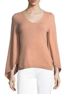 Neiman Marcus Bell-Sleeve V-Neck Cashmere Sweater