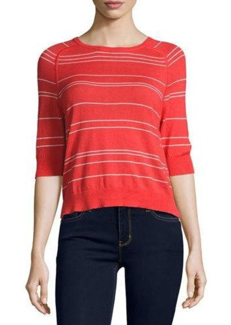 Neiman Marcus Cashmere Collection Cashmere-Blend Striped Top