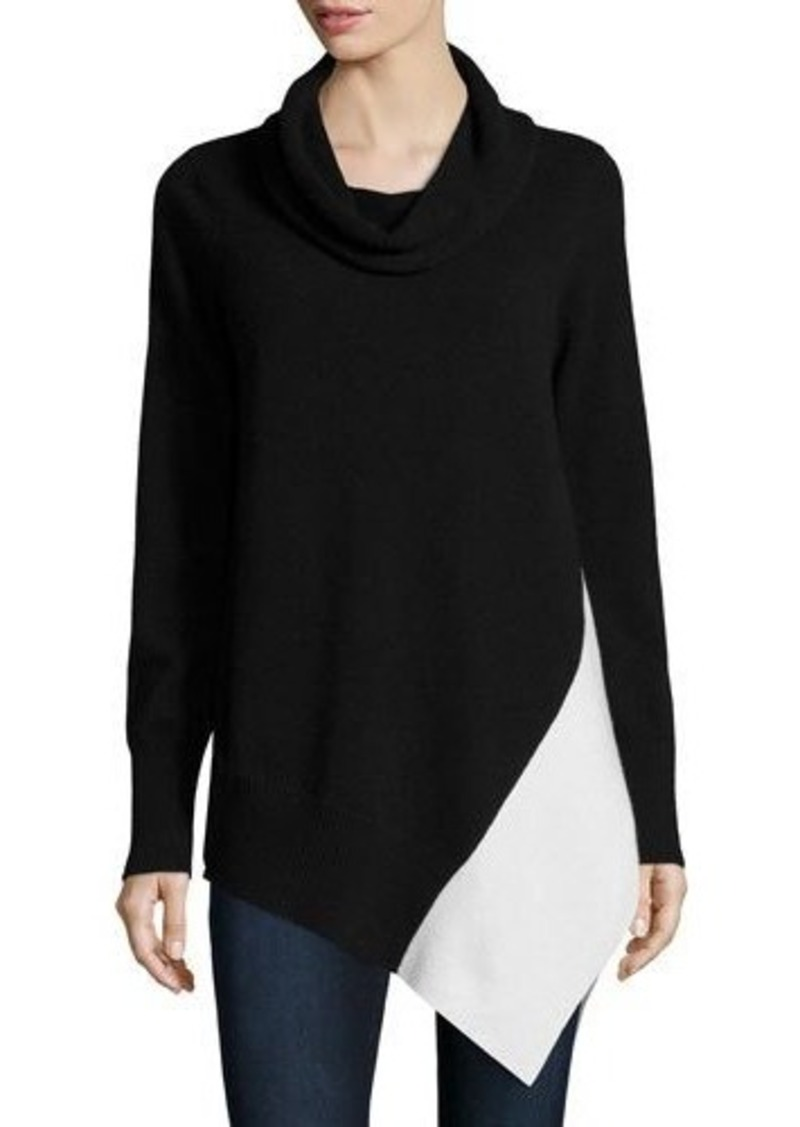 Neiman Marcus Cashmere Collection Cashmere Colorblock Cowl-Neck Sweater