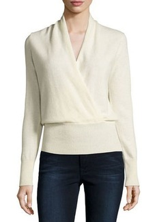 Neiman Marcus Cashmere Collection Cashmere Faux-Wrap Sweater