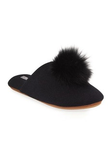 Neiman Marcus Cashmere Collection Cashmere Fox Fur-Trim Slippers