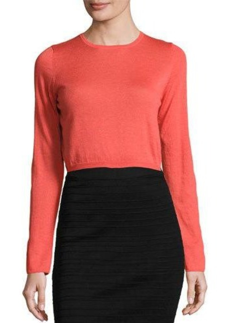 Neiman Marcus Cashmere Collection Cashmere Long-Sleeve Crop Top