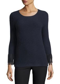 Neiman Marcus Cashmere Collection Cashmere Pullover w/ Suede Fringe Cuffs