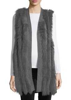 Neiman Marcus Cashmere Collection Luxury Cashmere Vest w/ Fox Fur Stripes