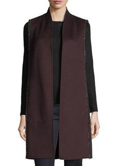 Neiman Marcus Cashmere Collection Luxury Chain-Trim Double-Face Cashmere Vest