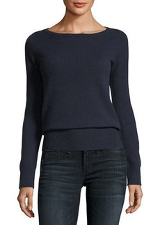Neiman Marcus Cashmere Collection Classic Cashmere Bateau-Neck Sweater