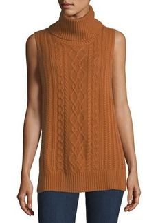 Neiman Marcus Cashmere Collection Cowl-Neck Cable-Knit Cashmere Vest