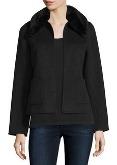 Neiman Marcus Cashmere Collection Cropped Cashmere Jacket w/ Rabbit Fur Collar