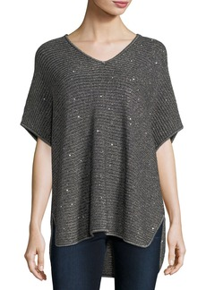Neiman Marcus Cashmere Collection Dolman-Sleeve Sequin Shaker-Stitch Tunic