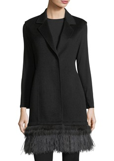 Neiman Marcus Cashmere Collection Luxury Double-Face Cashmere Vest w/ Fox Fur & Ostrich Feather Trim