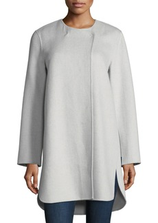 Neiman Marcus Cashmere Collection Luxury Double-Faced Curved Cashmere Coat