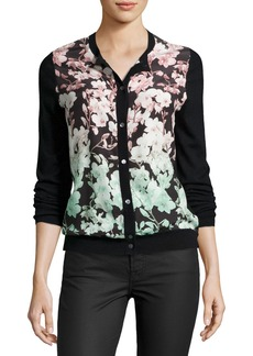 Neiman Marcus Cashmere Collection Floral Silk-Front Cashmere Bomber Cardigan